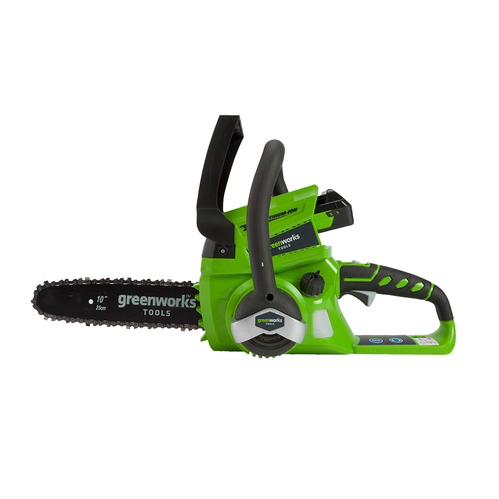 """GreenWorks G24CS25 24V 10"""" Cordless Battery Chainsaw (Tool Only"""