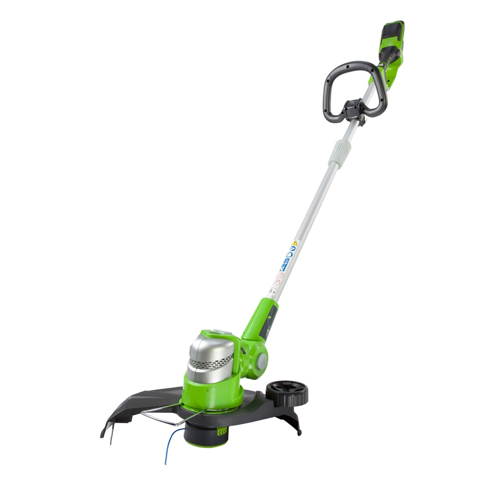 greenworks 24v deluxe cordless grass trimmer with 2ah battery and charger mowers spares. Black Bedroom Furniture Sets. Home Design Ideas